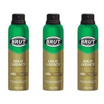 Brut Gold Legacy Desodorante Aerosol 48h 150ml (Kit C/03) -