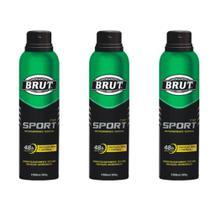 Brut Sport Desodorante Aerosol 48h 150ml (Kit C/03) -
