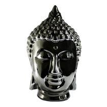 Buda Decorativo em Cerâmica com Pintura e Acabamento na cor Preto brilhante - Santa cecília
