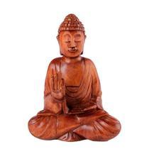 Buda sentado de madeira suar 20cm - Bali