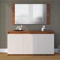 Buffet 3 Portas com Moldura Painel Miriam Espresso Móveis Pinho/Off White -
