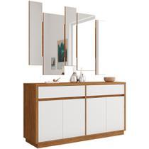 Buffet Para Sala de Jantar Ana N01 Com Moldura Espelho Ypê Protect Branco - Lyam Decor -