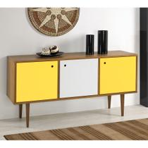 Buffet Vintage 353-0464 Madeira, Branco  Amarelo - Mobly