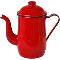 Bule Aço Esmaltado Para Café Chá 1,25 Litros Tradicional Vermelho - Metallouça