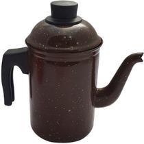 Bule De Café Chá Ágata Esmaltado Retro 1,5 Litros Marrom - Zanline