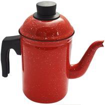 Bule De Café Chá Ágata Esmaltado Retro 1,5 Litros Vermelho - Zanline