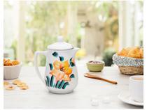 Bule de Café e Leite Esmaltado de Porcelana Branca com Tampa 450 ml Decorado a Mão M.A.S. -