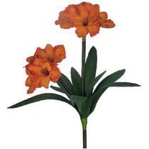 Buquê de Flor Artificial Amarílis Laranja X10  Formosinha -