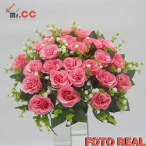 Buquê Rosas Artificial C/24 Flores Arranjo Enfeite Casamento rosa - Mr.Cc