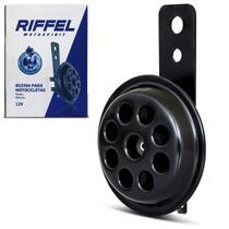 Buzina Elétrica Universal Tipo Paquerinha para Motos 125cc 150cc 12v 2 Conectores com Suporte Preta - Riffel