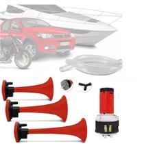 Buzina Eletropneumática De Ar 3 Cornetas Universal 12v barco Moto Carro - pancadaoeletronicos
