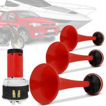 Buzina Eletropneumática de Ar 3 Cornetas Universal 12V Vermelha 2 Tons com Chave Acionadora - Vetor