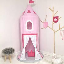 Cabana Infantil Tenda Dossel 04 peças com Tapete - Castelo Rosa - Sonho Encantado