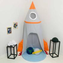 Cabana Infantil Tenda Dossel 05 peças com Tapete - Foguete Cinza - Sonho Encantado