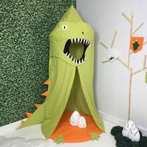 Cabana Infantil Tenda Dossel Dinossauro Verde 05 peças com Tapete - Stylo Casa