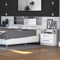 Cabeceira Box Com Criado Mudo Dormitório 2013 B290 Branco Brilho - Móveis kappesberg