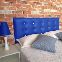 Cabeceira Casal 138  - Bello Box - Botonê Sintético Azul Com Strass -