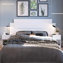 Cabeceira Casal com 2 Mesas de Apoio Dormitórios Decibal Branco -
