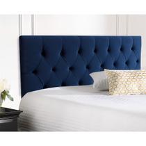 Cabeceira Casal Estofada Paris Painel 140x58 Suede Azul Marinho - Expressamoveis