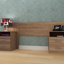 Cabeceira de Casal Extensível com Mesa de Cabeceira e 4 Gavetas Elegance Espresso Móveis Demolição -