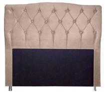 Cabeceira Estofada Para Cama Box Casal 160 Cm Queen Princesa - Suede Bege - Monte Rei