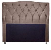 Cabeceira Estofada Para Cama Box Casal 160 Cm Queen Princesa - Suede Marrom Claro - Monte Rei