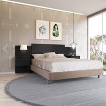 Cabeceira Extensível Casal/King 2 Criados Mudos Recife Móveis Albatroz Preto Fosco Liso - Albatroz Móveis