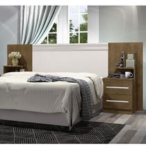 Cabeceira Extensível com Mesa Lateral Detroit J&A Móveis Jequitibá/Off White -