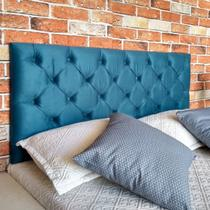 Cabeceira Painel Capitone Queen Suede Azul Royal 160 x 60