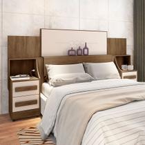 Cabeceira para cama box casal/king síria rv 1.40m/1.60m/1.95m c/ mesa de cabeceira freijó/ off white - Rv Móveis