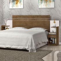 Cabeceira para cama box casal moana j&a 1.40m/1.60m com mesa de cabeceira jequitibá/off white - Ja Móveis
