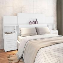 Cabeceira para cama box casal/queen/king síria rv 1.40m/1.60m/1.95m com mesa de cabeceira branco - Rv Móveis
