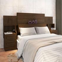 Cabeceira para cama box casal/queen/king síria rv 1.40m/1.60m/1.95m com mesa de cabeceira noce - Rv Móveis