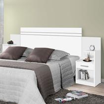 Cabeceira para cama box casal/queen/ moana j & a 1.40m/ 1.60m com mesa de cabeceira branco brilho - Ja Móveis