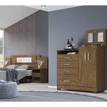 Cabeceira Sevilha E Comoda New Elegance Castanho Wood Moval -