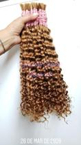 Cabelo humano cacheado loiro mel 60cm/100g/para mega hair -