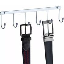 Cabide Suporte Porta Cintos E Gravatas Em Aço Cromado Fixo - Zanline