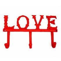 Cabideiro ferro love vermelho 24,4x14x7,5cm - Urban