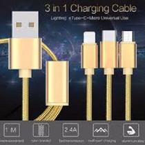 Cabo 3 em 1, iPhone 5,5S,6,6 Plus,micro USB V8 e TIPO-C - Gold