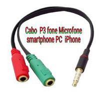 Cabo Adaptador P3 Macho x 2 P2 Femea para Fone e Microfone - AMVSHOP7
