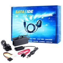 Cabo Adaptador Usb 2.0 Hd Conversor Ide Sata Fonte 3 Em 1 - Js Technology