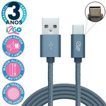 Cabo Android USB Tipo C 2 Metros Nylon Cor Chumbo i2Go PRO -