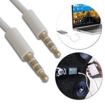 Cabo Auxiliar P2 Stereo Flat 1,5 Metro Branco para Áudio Som Automotivo Notebook Computador Celular - Prime