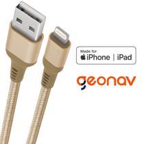 Cabo carregador iPhone Lightning Geonav 1 metro - certificado MFI e reforçado -