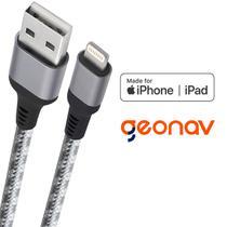 Cabo carregador iPhone Lightning Geonav 1,5 metro - certificado MFI e reforçado -