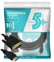 Cabo Conversor DVI-D para HDMI - 10 metros - Dual Link - 24+1 Pinos DVI-D M X HDMI M - Oficina Dos Bits