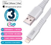 Cabo Dados iPhone Lightning Chip Original Certificado MFI 1,2 Metros Branco i2GO -