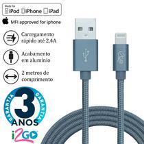Cabo Dados iPhone Lightning Chip Original Certificado MFI 2 Metros Chumbo i2GO PRO -