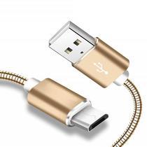 Cabo de Dados Carregador Hrebos Metal USB V8 Universal 2 metros Dourado -