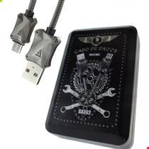Cabo de Dados Micro USB V8 Luxo Blindado 1m Sincroniza Carregamento Rápido Metal Flexível Coleção - Fancy